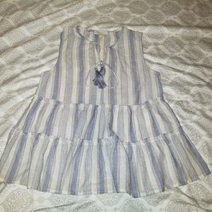 Ruffled Boho Blue and White Striped Top